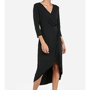 Express Black Knit Surplice Hi-Lo Midi Dress Sz L